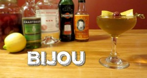 Bijou-a-Vintage-Cocktail-with-Gin-Green-Chartreuse-Sweet-Vermouth-Orange-Bitters